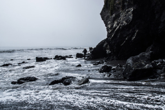 Walking with small waves in the Lost Coast Trail