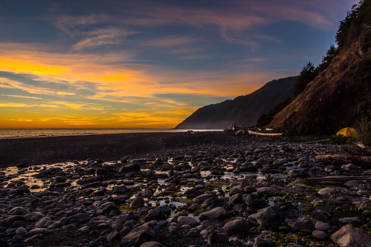 Sunset view in the seashore on Lost Coast Trail