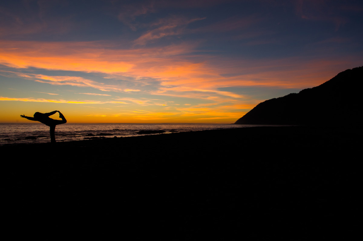 Exercise on Marvelous sunset during the Lost Coast Adventure Tours
