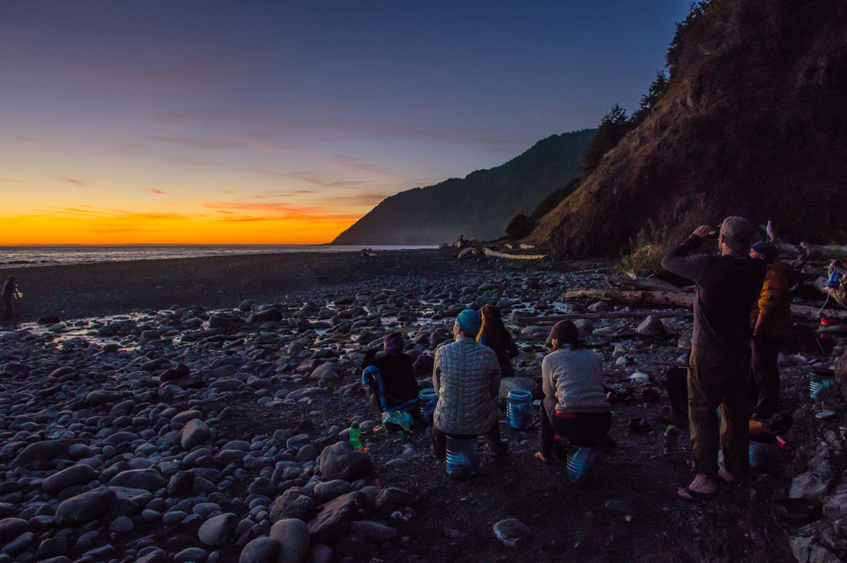 Watching the sunset with the Lost Coast Adventure Tours