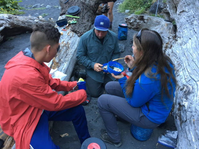 Taking meal after the long walk in Lost Coast Trail