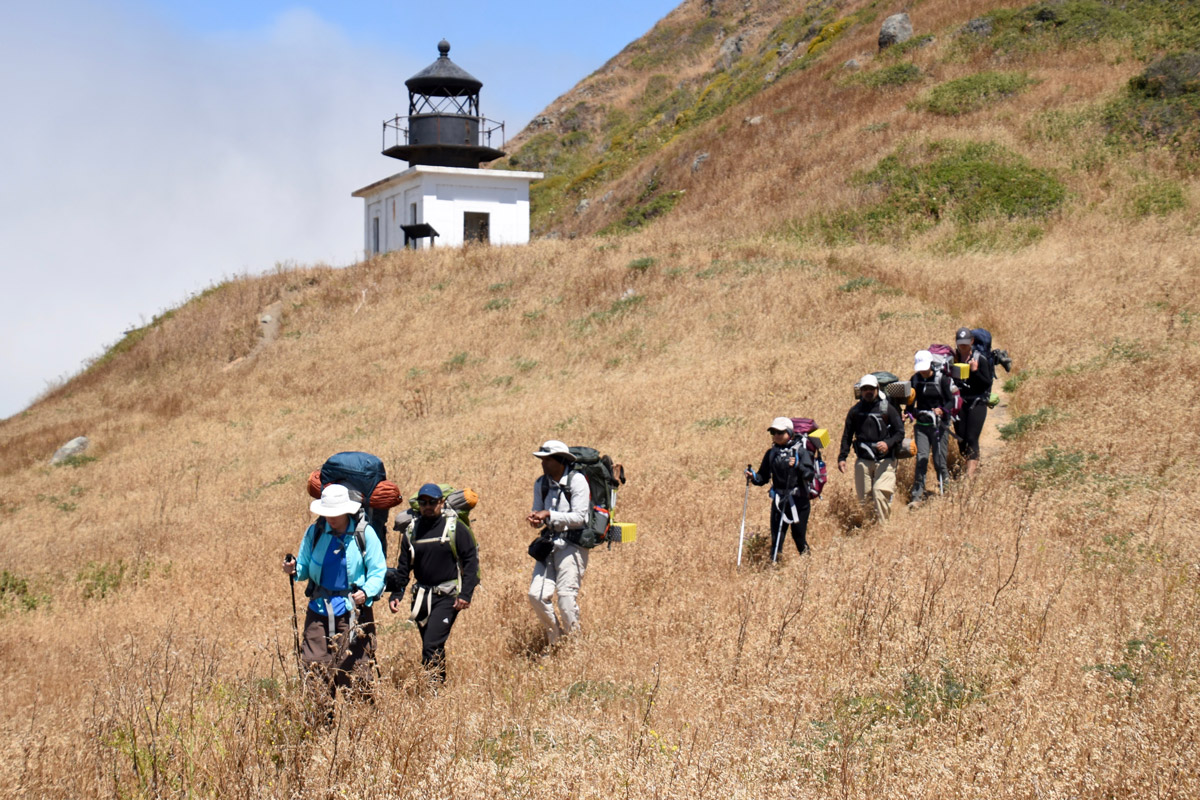 Campers hiking the Lost Coast Trail