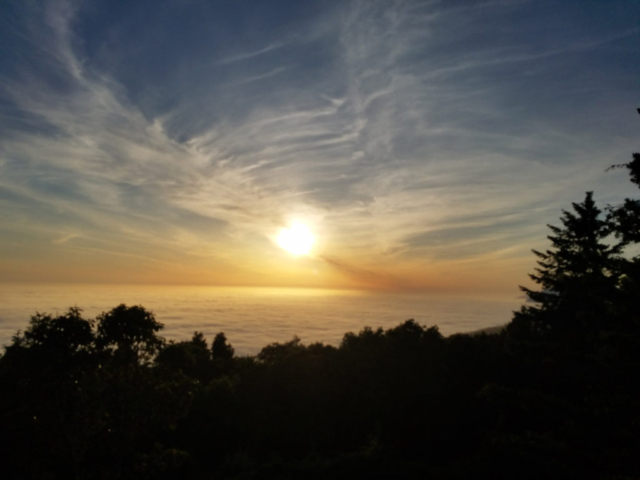 Sunset view at the top of the mountain on Lost Coast Trail