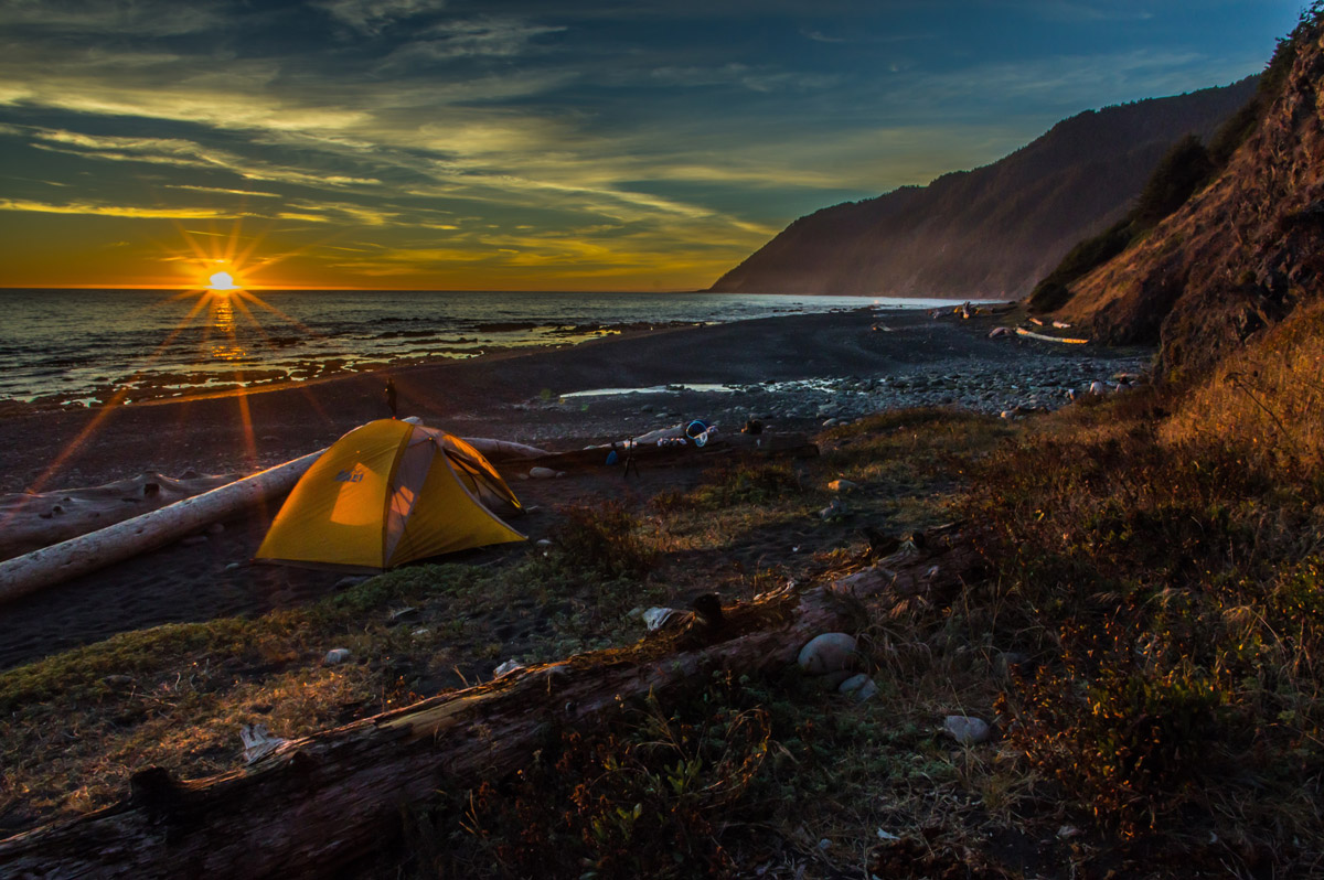 Tent in the seashore during sunset on Lost Coast Trail