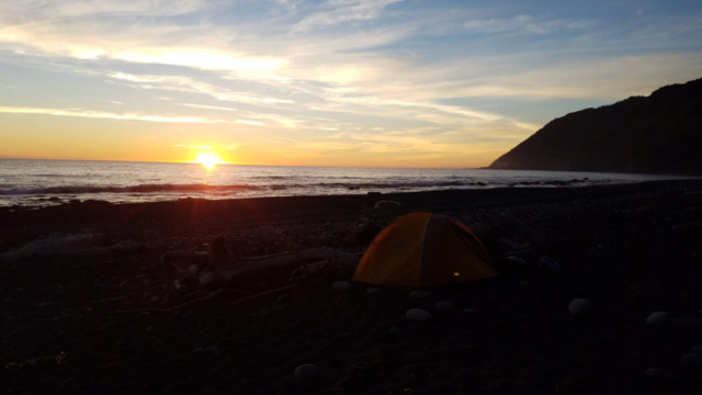 Seashore camping site on Lost Coast Adventure Tours
