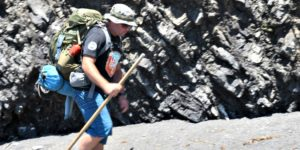 Blu Graham, owner of Lost Coast Adventure Tours, hiking the Lost Coast Trail